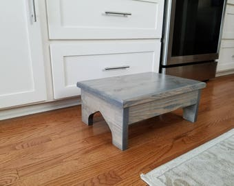 Large Wood Step Stool, Bedside Foot Stool 20x14x8 Classic Gray, Very Sturdy  U0026 Great