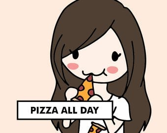 PIZZA NIGHT Stickers / planner stickers, food stickers, eating stickers, pizza delivery, lunch stickers, dinner stickers / SD1