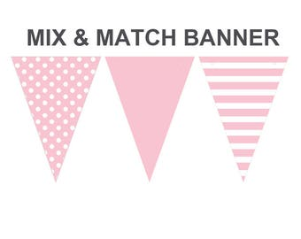 Pink color banner,printable Pink banner,mix and match banners,cake smash props,cake smash background banner