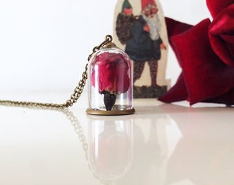 Outlet-40% beauty and the Beast-ampoule necklace with Rose Blossom