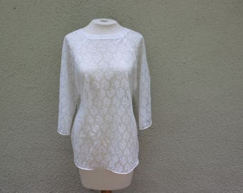 Vintage Sheer White Lace Blouse - S