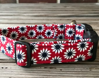 Dog Collar, Fabric Dog Collar, Red with Floral Print Dog Collar, Pet Collar, Floral Print Dog Collar