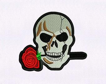 Rose Gritting Skull Embroidery Design | Skull Embroidery | Skull Design Embroidery | Skull EMB Design | Embroidery Skull Design