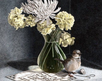 His Eye Is On The Sparrow - still life art print giclee painting watercolour - flowers bird carnation dianthus