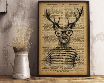 Hipster animal Dictionary style Art Print Home Wall Decor Deer Art Print Funny wall art Hipster stag print vintage style cabin decor HIP01