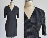 1990s wrap dress · side tie dress · polka dot dress · bow dress · 3/4 length sleeve dress · A line knee length dress · medium