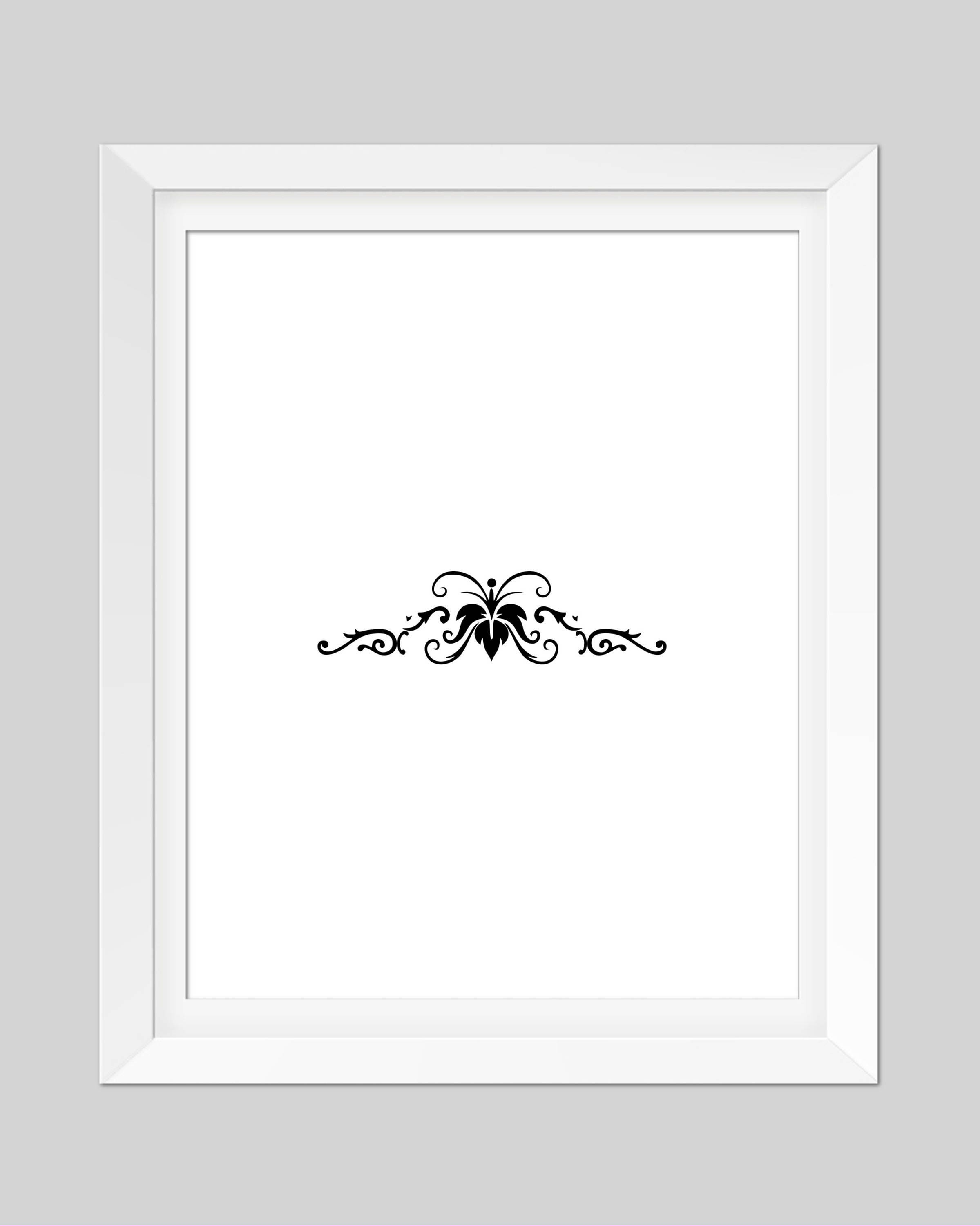 Decorative Floral Print Printable Wall Art Black And White