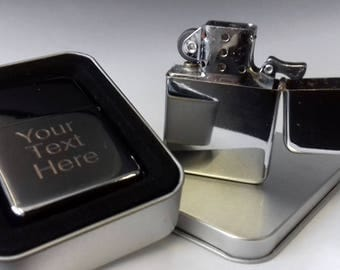 High Quality Engraved Chrome Petrol Lighter with personal message