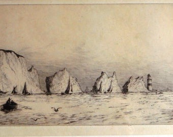 Frank Harding vintage original etching Isle of Wight The Needles signed.  Framed and glazed.