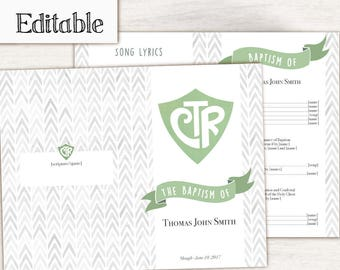 Baptism Program Editable PDF, LDS Printable Digital, Songs Handout Boy Baptism, CTR, Grey Green  Watercolor,