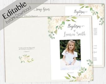Baptism Program LDS Printable Digital, Editable PDF, Songs Handout Girl Baptism white Flowers, white, Watercolor, Baptism Program Template