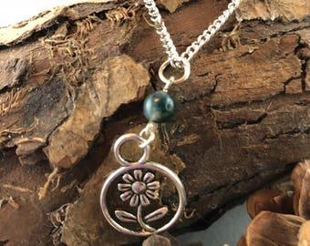 Green Fancy Jasper Flower Necklace