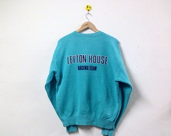 Vintage Leyton House Racing Team Sweatshirt Spellout Big Logo Crewneck