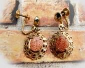 Vintage Goldstone Earrings  -Screw Back earrings  -Sun Stone  Earrings- Gold Filigree - Gemstone Earrings- Short Drop Earrings  - # J 14