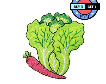 Lettuce Pink Carrot Nature Vegetable Chinese Cabbage Foods Fruit Embroidered Iron On Patch Heat Seal Applique Sew On Patches