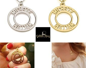 Name Necklace Jewelry Pendant 24K Gold Plated Corona Name Necklace