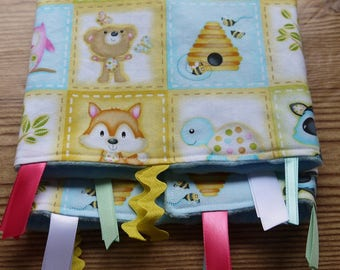 Baby Ribbon Tag Blanket Woodland Animals Baby Minky Blanket Ribbon Blue Yellow  Minky New Baby Shower Gift Ribbon Security Blanket Lovey