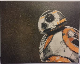 BB8 starwars (original) spray painted canvas
