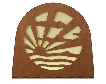 Art Deco Sunrise Wooden Lamp