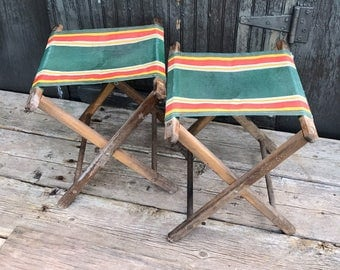 Vintage Folding Camping Chair Canvas Wood Foot Stool Rest Fishing Seat (set of two)