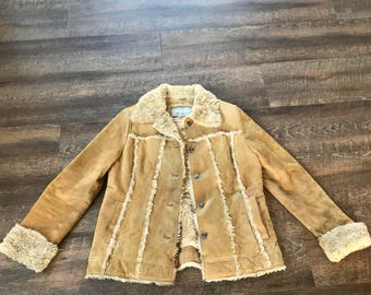 Vintage Suede Jacket Coat Tan Womens Wilsons Leather Size Large