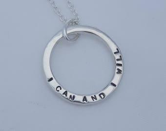 Handstamped Circle Necklace
