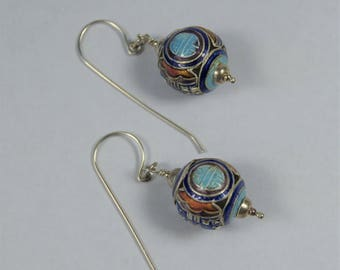 Vintage Chinese Enamel Bead and Sterling Silver Earrings