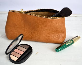 LEATHER POUCH, Leather Clutch, Leather Toiletry Bag, Leather Bag, Leather Makeup Bag, Leather Cosmetic Bag, Leather Purse Tan Leather Clutch