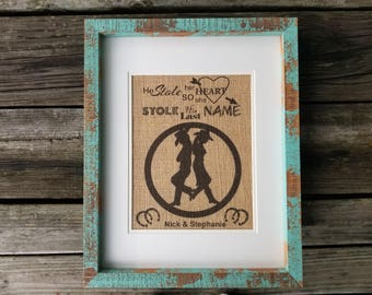 Stole My Heart, cowboy, cowgirl, cowboy burlap, cowboy wedding gifts, rustic decor