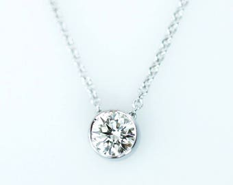 Diamond Necklace, Minimalist Necklace, 0.07 ct. Dainty Diamond Tube Bezel Necklace, Bezel Set Diamond Solitaire Necklace