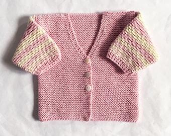 Cotton organic pink striped sweater White Vanilla - 3 months