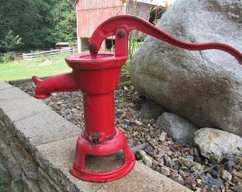 antique hand pump, old red water pump, pitcher pump, cast iron hand pump, garden decor, old farmhouse, primitive decor, rustic kitchen,