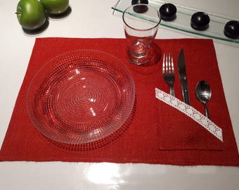 Red burlap placemat