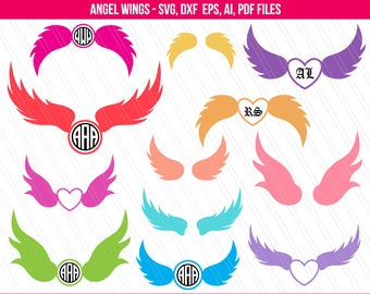 Angel wings svg, Fairy Wings Clipart, Bird Wings SVG, Wings Svg, Angel wings monogram frames, Digital files - Svg, Eps, Ai, Pdf, Dxf