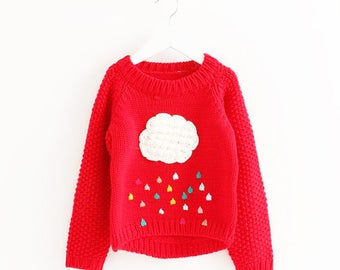 Kids Red Jersey with Rainbow Rain - Size 3 years