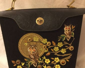 60's owl and moon jewelled handbag
