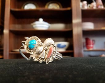 Vintage Native American Turquoise and Coral Cuff Bracelet