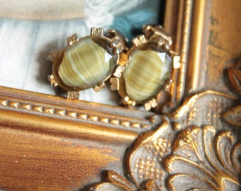 Vintage earrings in brass and natural stone, vintage, antique jewelry, 797 jewel