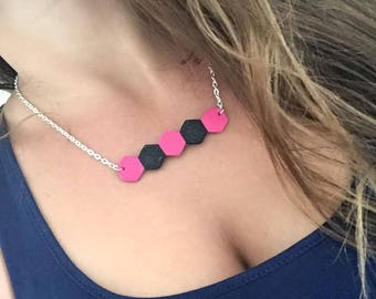 Zapa leather fuchsia black 28cm silver necklace