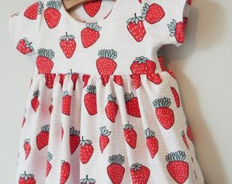 Strawberry Organic Dress, girls dress, handmade, dresses,baby dress, newborn, baby gift, organic dress,summer dress, jmw kids, fruit print
