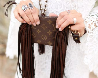 Wristlet Auburn Louis Vuitton, fringe, upcycle, gift for her, boho, western, cowgirl, gypsy, crossbody bag, purse, Christmas