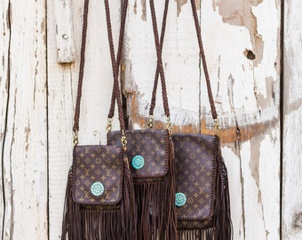 Barcelona Chocolate with Zuni Concho  Louis Vuitton, fringe, upcycle, gift for her, boho, cowgirl, gypsy, crossbody bag, purse, Christmas