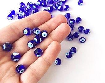 PROMO 35 pcs 10mm Blue Glass Evil Eye Beads - 10mm Evil Eye Beads - 10mm glass beads - protection beads - big blue evil eye beads - nazar be