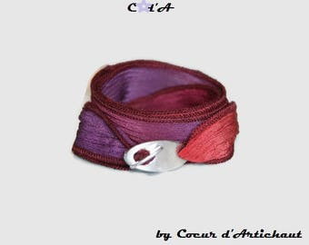 Coral and purple plum Silk Ribbon Bracelet