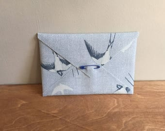 Beautiful Handmade Swallows Fabric Envelope with blank card insert - ideal for invitation, gift voucher, your own handmade card