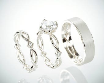 SALE Christmas in July! 14K White Gold Eternity Wedding Rings Set with Charles & Colvard Moissanite and diamonds and a matching Men's ring