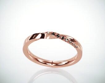 SALE! 14k Rose Gold Mubius Ring set with Black Diamonds | Black Diamonds Mobius Ring | Rose Gold Mobius Wedding Ring set with Black Diamonds