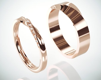 14k Rose Gold Mubius Rings Set Ladies ring set with Diamonds | His and Hers Diamonds Mobius Ring | 14k Rose Gold Mobius Wedding Bands set