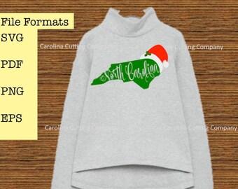 Christmas in North Carolina svg, NC Christmas svg, Santa Hat svg, Cricut Silhouette SVG Cut Files