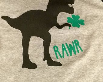 "Dinosaur with Shamrock ""Rawr!"""